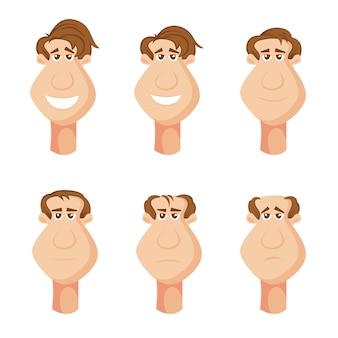 Personnages masculins souffrant de perte de cheveux sur la tête avec des expressions faciales malheureuses, dessin animé.