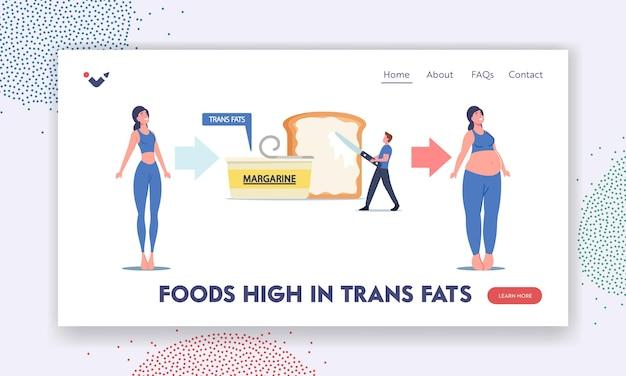 Personnages, mauvaise alimentation, modèle de page de destination pour l'obésité. une femme mince devient grosse en mangeant des graisses trans et des produits de cholestérol à la margarine. l'homme a mis de la tartinade sur du pain grillé. illustration vectorielle de gens de dessin animé
