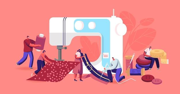 Des personnages sur mesure réparent des vêtements, un concept de design de mode d'atelier créatif, de minuscules couturières créent des tenues et des vêtements sur une énorme machine à coudre, une entreprise d'artisanat textile. illustration vectorielle de gens de dessin animé