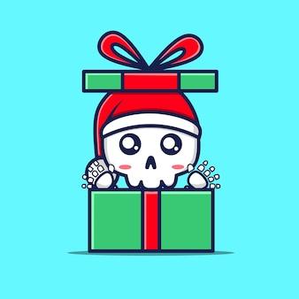 Personnages mignons de crâne dans des cadeaux de noël