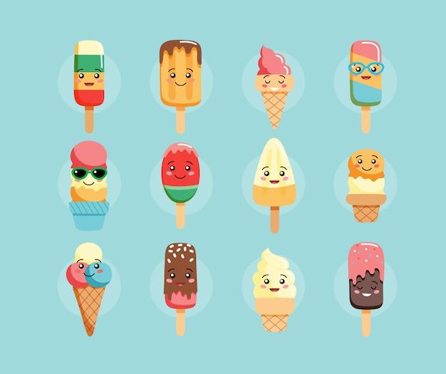 Personnages mignons de la crème glacée kawaii