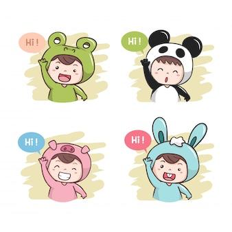 Des personnages mignons disent bonjour! illustration