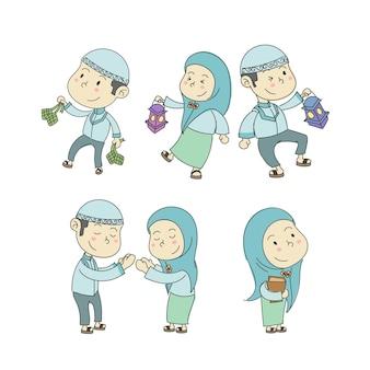 Personnages mignons d'enfants musulmans dans les collections de dessins animés de ramadan kareem