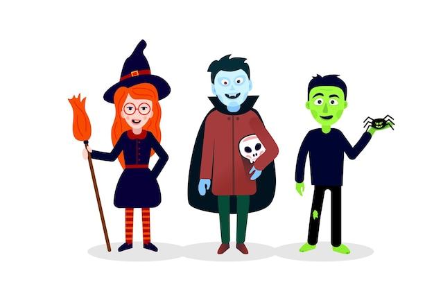 Personnages mignons d'halloween : sorcière, zombie, vampire.
