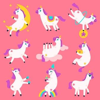 Personnages mignons de licorne