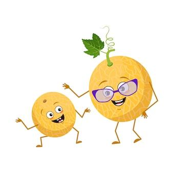 Personnages mignons de melon avec émotions, visage. grand-mère drôle avec des lunettes et petit-fils dansant avec bras et jambes. le héros heureux, fruit avec des yeux. télévision illustration vectorielle