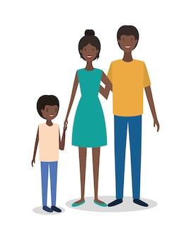 Personnages mignons de membres de la famille afro