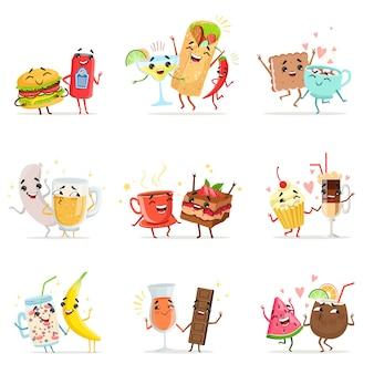 Personnages mignons de nourriture drôle s'amusant illustrations