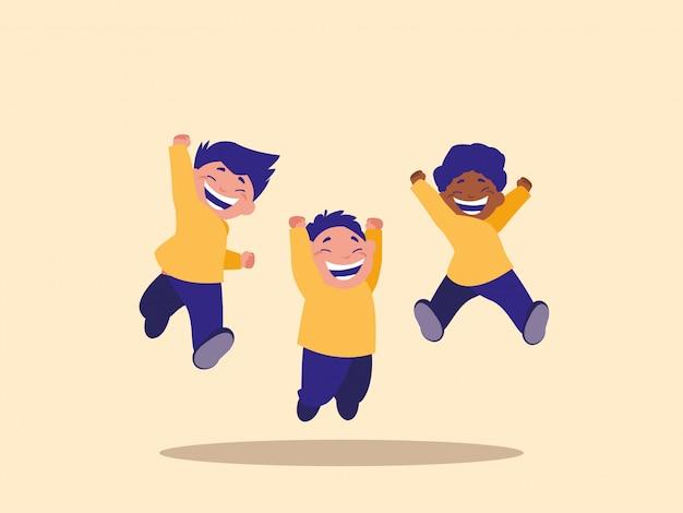 Personnages mignons de petits enfants sautant avatar