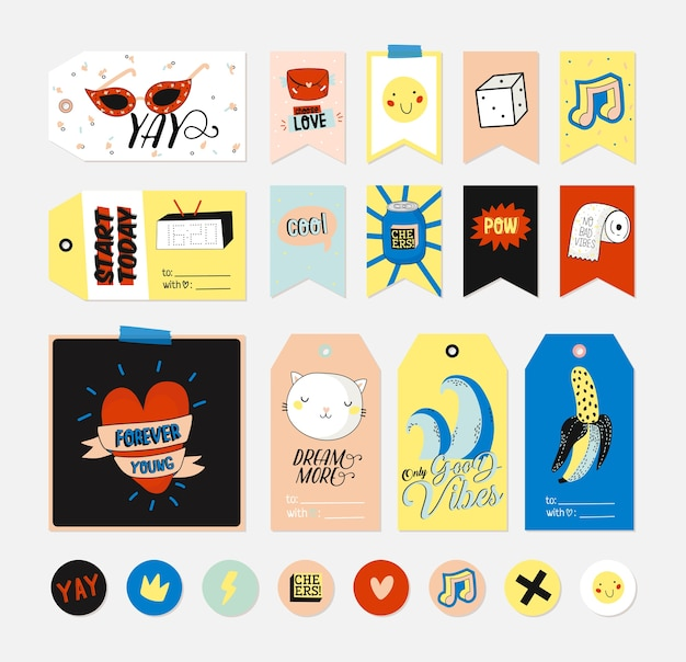 Personnages mignons pour étiquettes-cadeaux, étiquettes et autocollants - ensemble créatif comprenant des citations à la mode et des éléments stylisés sympas. style de bande dessinée.