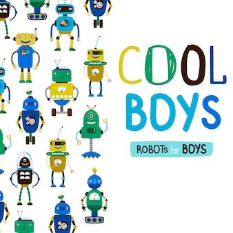 Personnages mignons de robots de garçons cool