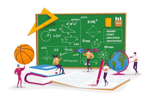 Personnages de minuscules enseignants avec des outils éducatifs et de la papeterie devant un énorme tableau noir