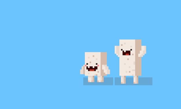 Personnages de monstre cube de dessin animé pixel art. 8 bits.