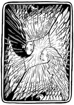 Personnages de mythes et légendes. femmes oiseaux. croquis de belles sirènes. image graphique fantastique dessinée à la main. illustration vectorielle de style vintage. conception pour affiche, impression, carte postale.