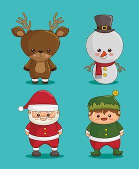 Personnages de noël: cerf, bonhomme de neige, père noël et elfe