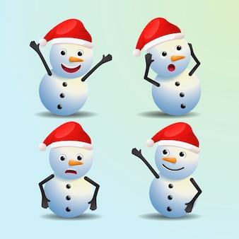 Personnages de noël dessin animé réaliste bonhomme de neige