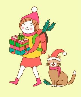 Personnages de noël fille et chat tiennent des cadeaux colorés, isolés sur fond clair.