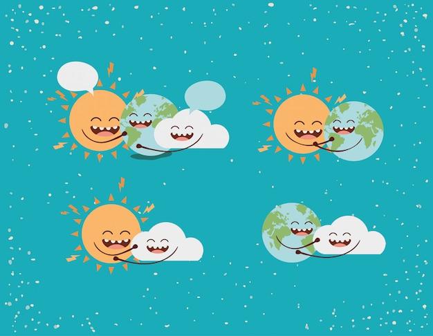 Personnages de nuage et soleil de la terre avec des bulles