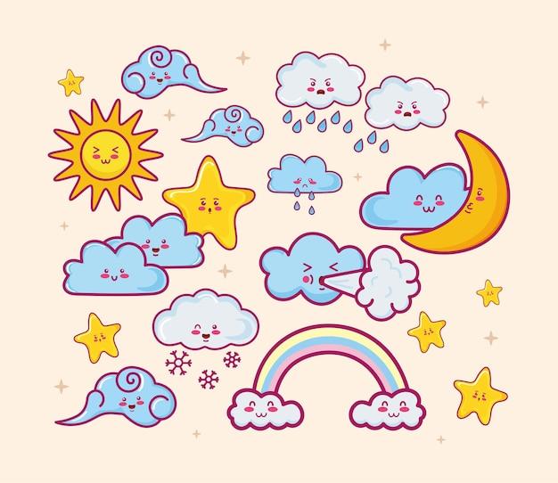 Personnages de nuages kawaii