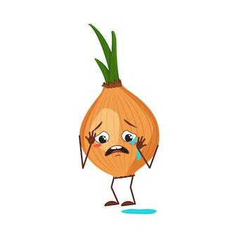 Personnages d'oignons avec émotions de pleurs et de larmes, visage, bras et jambes. le héros drôle ou triste, le légume. télévision illustration vectorielle
