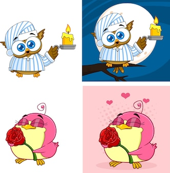 Personnages d'oiseaux de dessin animé
