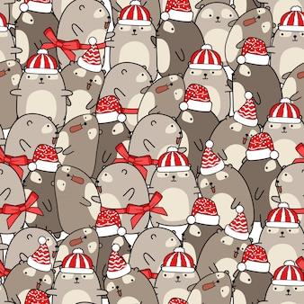Personnages d'ours en peluche modèle sans couture le jour de noël