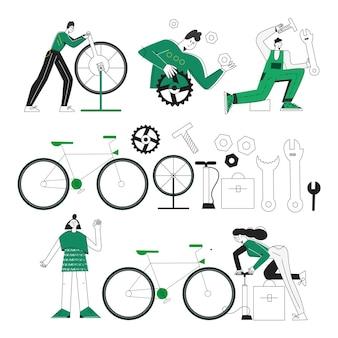 Personnages et outils du service de réparation de vélos mécanicien de vélo clipart d'instruments processus de réparation