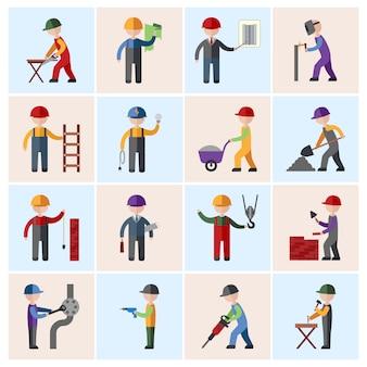 Personnages d'ouvrier de construction à plat