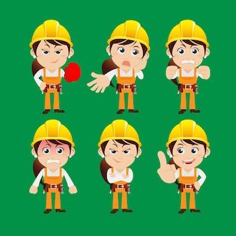 Personnages ouvriers dans différentes poses