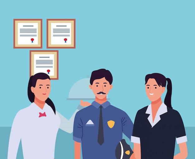 Personnages ouvriers professionnels souriant des dessins animés