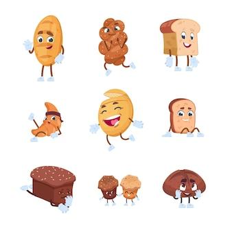 Personnages de pain. personnages mignons de bande dessinée de biscuits croissants à la baguette et de pâtisseries de boulangerie