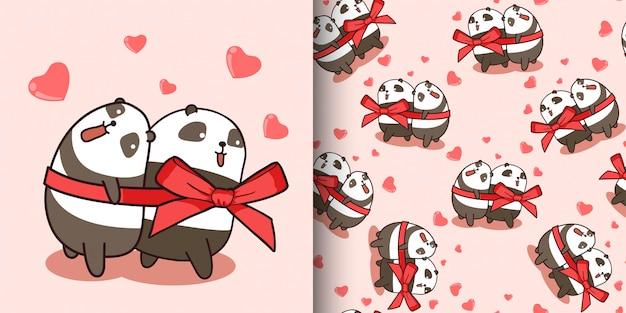 Les personnages de panda couple modèle sans couture aiment