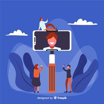 Personnages partageant des selfies sur les médias sociaux
