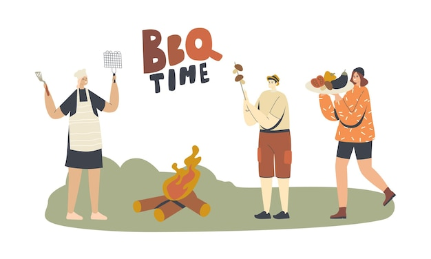 Les personnages passent du temps en plein air sur un barbecue. famille ou amis cuisiner, manger des légumes, des champignons, des saucisses ou de la viande sur la cour avant ou dans le parc s'amuser à l'heure d'été. illustration vectorielle de personnes linéaires
