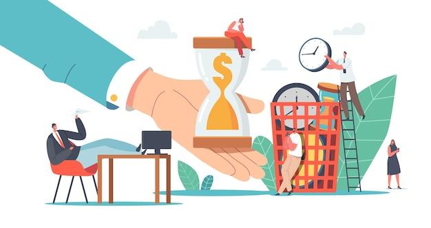 Personnages perdant du temps et de l'argent, concept de procrastination. procrastination des hommes d'affaires, employé assis sur le lieu de travail avec les jambes sur le bureau reportant le travail. illustration vectorielle de gens de dessin animé