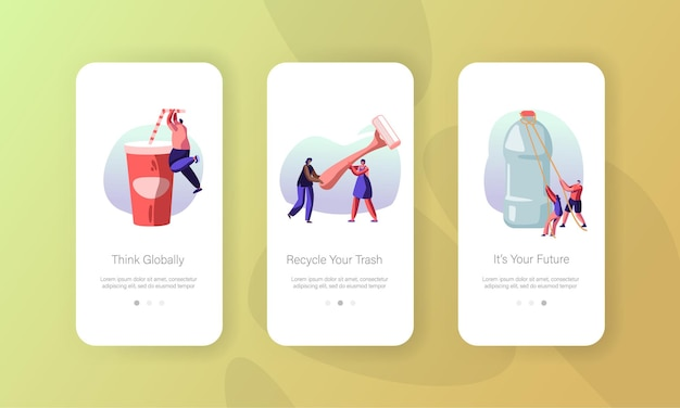 Les personnages de personnes utilisent un ensemble d'écran à bord de la page d'application mobile d'emballage en plastique.