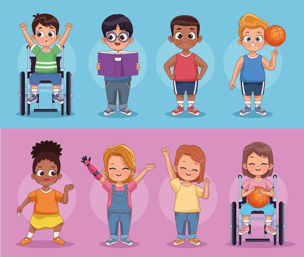 Personnages de petits enfants handicapés