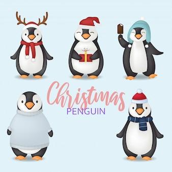 Personnages de pingouin de noël