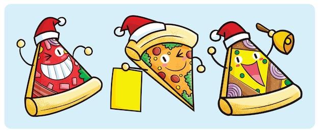 Personnages de pizza de noël drôles en style cartoon