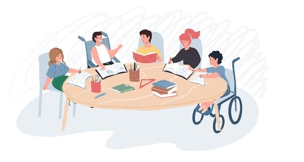 Personnages plats de dessin animé de vecteur, enfant souriant heureux handicapé, trouble physique