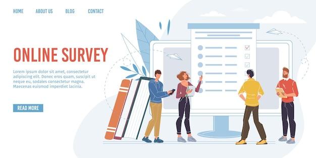 Personnages plats de dessins animés vectoriels réussissant un sondage en ligne, un test, un examen et vérifiant les résultats sur des appareils de téléphonie mobile à écran, des moniteurs - prêt à utiliser la conception de sites web en ligne, le concept d'éducation et d'examen