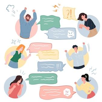 Personnages plats de dessins animés vectoriels se disputant à l'aide de messages texte dans une conversation en ligne, différentes personnes et poses. concept de communication, de gestion de la colère et de comportement social, conception de bannière de site web