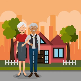 Personnages en plein air de couple de grands-parents
