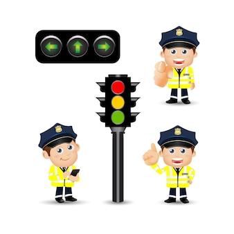 Personnages de policier dans différentes poses