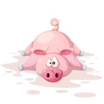 Personnages de porc fou