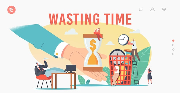 Personnages qui perdent du temps, modèle de page de destination pour la procrastination. les gens d'affaires procrastinant, les employés s'assoient sur le lieu de travail avec les jambes sur le bureau, reportant le travail. illustration vectorielle de gens de dessin animé