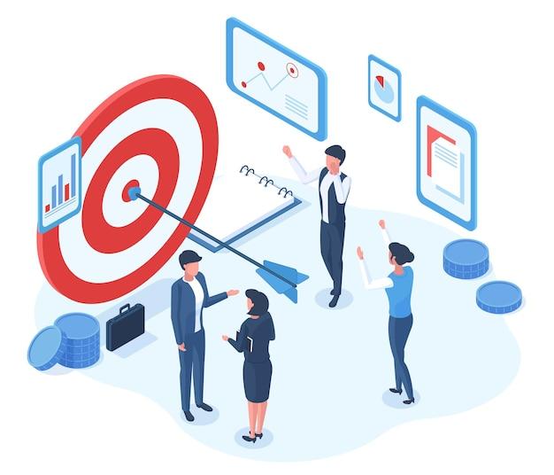Personnages de réalisation réussie d'objectif commercial isométrique. objectifs de l'équipe de bureau d'affaires réalisation cible de tir illustration vectorielle de métaphore. stratégie commerciale réussie