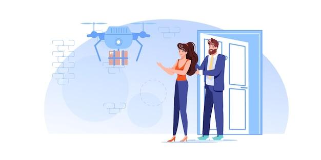 Les personnages reçoivent des commandes en ligne à partir d'un drone de livraison