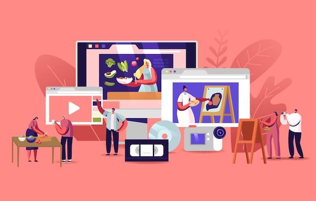 Personnages regarder des cours vidéo obtenez une formation en ligne.