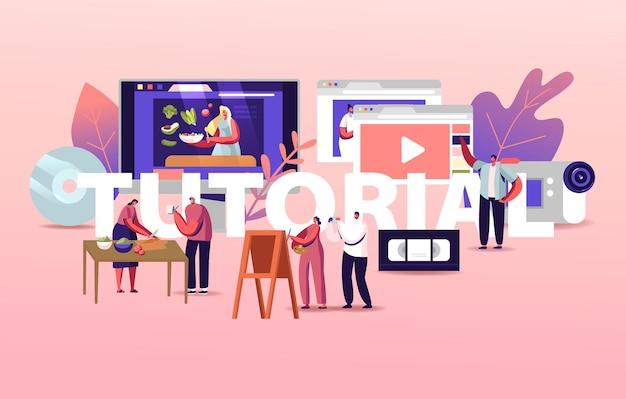 Personnages regardez des cours de didacticiel vidéo obtenez une illustration de l'éducation en ligne